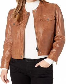 Women's Lucky Branded Brown Leather Jacket