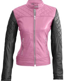 Women's Pink With Black Sleeves Shoulder Quilted Leather Jacket