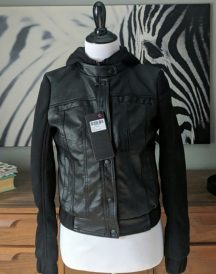 Womens Sweater Sleeves Leather Jacket