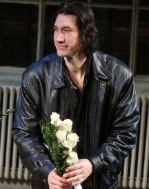 Adam Driver Casual Mens Black Leather Bomber Jacket