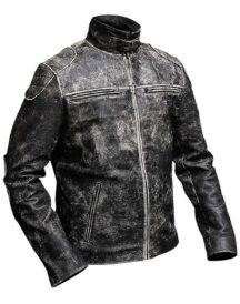 Gents Vintage Retro Distressed Black Antique Biker Jacket