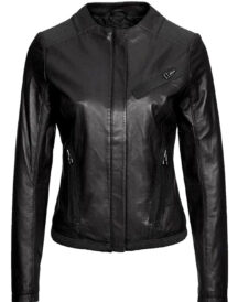 Women's Casual Wear Collarless Black Leather Jacket
