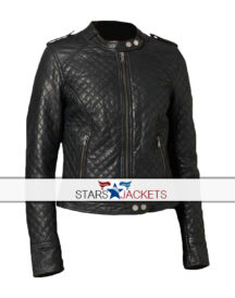 Women's Classic Quilted Diamond Black Real Leather Biker Jacket