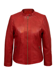 Women's Classic Red Faux Leather Jacket