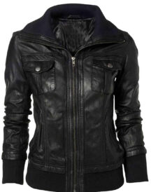 Women's Men's Double Collar Casual Slim Fit Black Leather Jacket