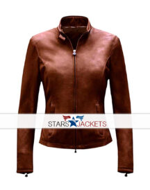 Women's New Design Brown Suede Leather Slim Fit Jacket