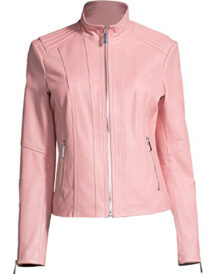 Women's New Style Casual Pink Leather Jacket