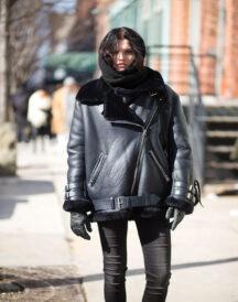 Women's Plus Size Aviator b3 Flight Bomber Black Leather Winter Jacket