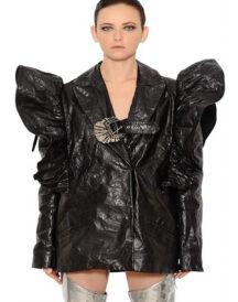 Luisaviaroma Ruffle Shoulders Wrinkled Leather Jacket