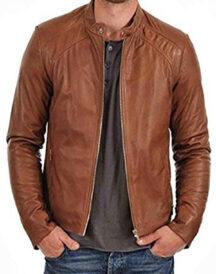 Men's Brown Biker Slim Fit Casual Wearing Leather Jacket