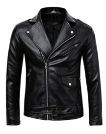 Men's Classic Black Genuine Leather Motorcycle Jacket