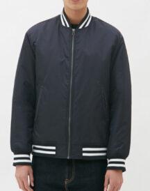 Men Casual Navy Blue Varsity Jacket