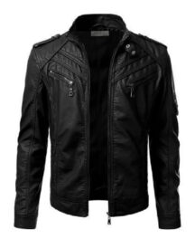 Men Motorcycle Black Leather Jacket
