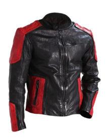Men Outerwear Biker Red & Black Leather Jacket