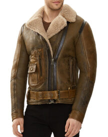 Men Real Shearling Sheepskin Flying Jacket