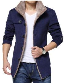 Men Single Breasted Blue Wool Jacket