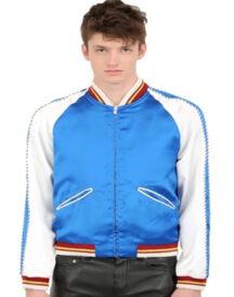 Men Stylish Blue White Satin Jacket