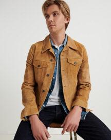 Men Suede Leather Trucker Jacket