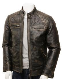 Men Vintage Motorcycle Leather Jacket