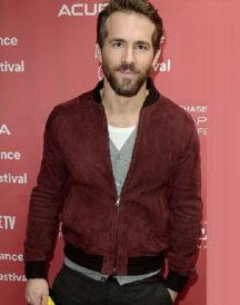 Ryan Reynolds Maroon Suede Leather Jacket