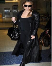 Singer Mariah Carey Black Leather Coat